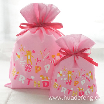Pink Non-woven Gift Drawstring Packaing Bag For Lady