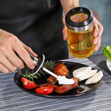 Clear Glass Seasoning Salt Bottle with Spoon Brush
