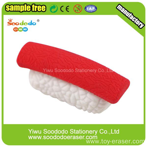 3d different shpe sushi custom eraser