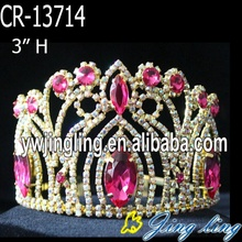 "3"" Gold Plated AB Rhinestone Pageant Tiara"