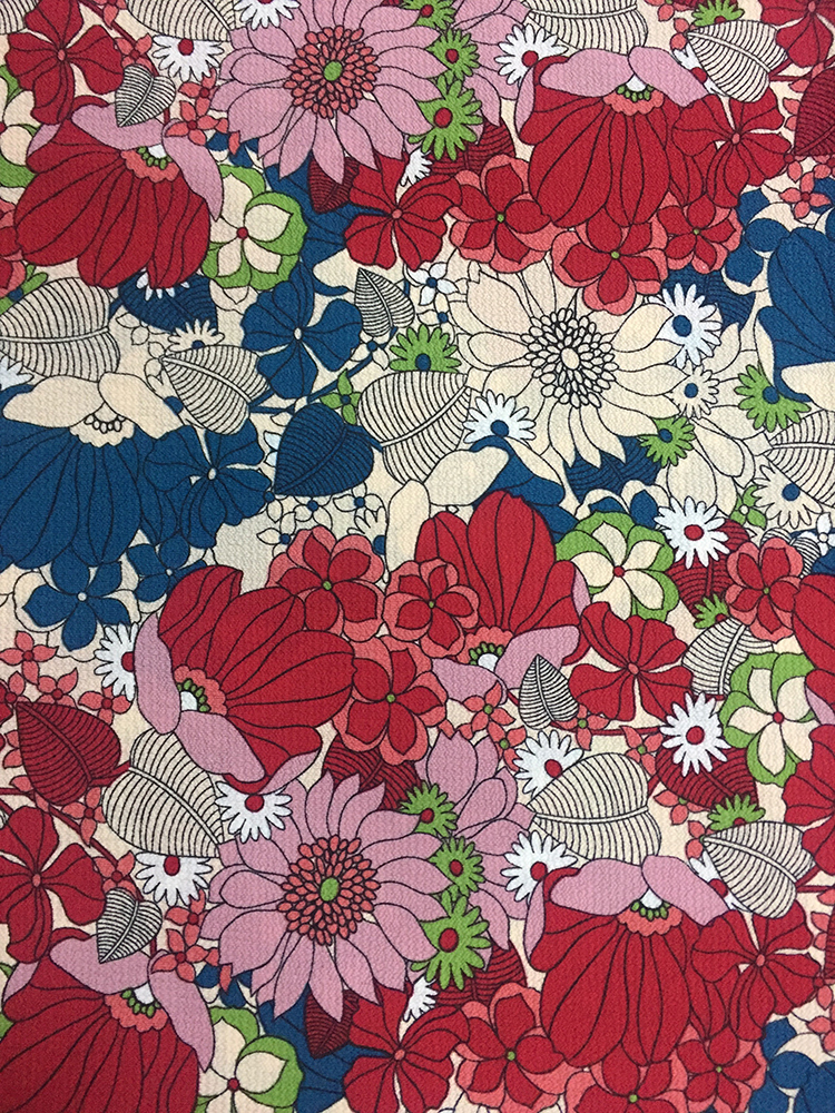 Flower Design Polyester Bubble Crepe Printing Fabric