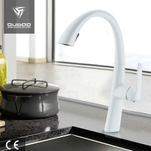 White Deck-Mounted Kitchen Faucet Mixer With Spray