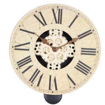 14 Inch Wooden Gear Wall Clock White