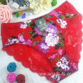 OEM new style wholesale sexy lace women light green panty little printed flowers bamboo fiber underwear 6890
