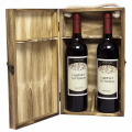 Wood Double Bottle Wine Case, Top Handle Hinged Lid Carrier