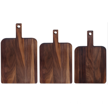 Square walnut wood cutting board with handle