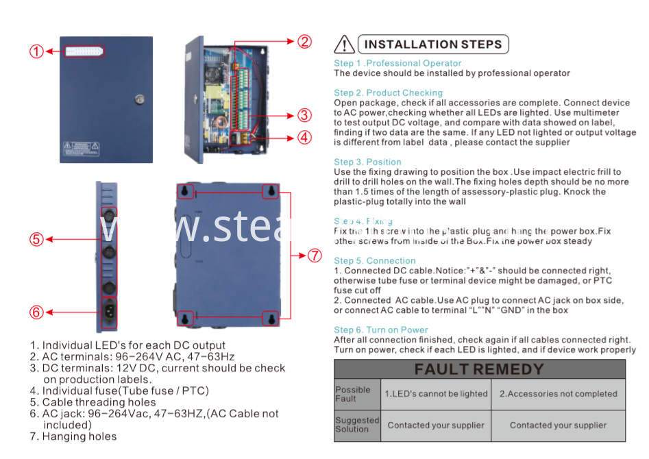 cctv power supply box 12v