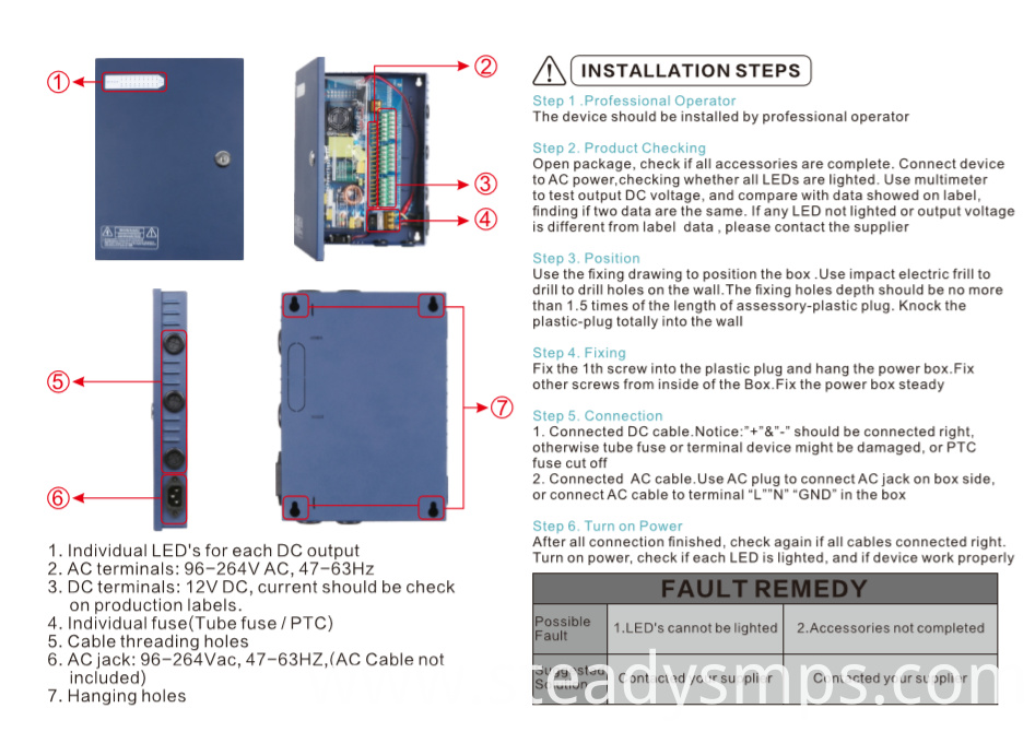 cctv power supply 4 channel