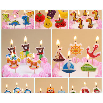 Hot sale colorful cartoon birthday cake candle for children