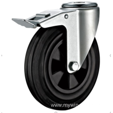200 European industrial rubber  swivel caster with brake