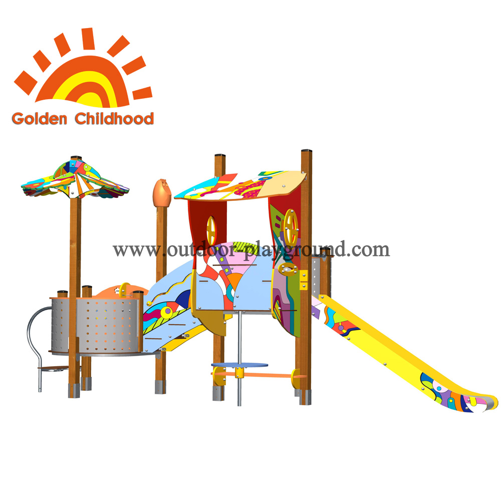 Slide With Playhouse Outdoor Playground Facility For Children