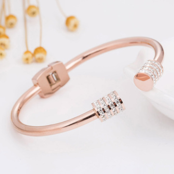 Cute Simple Rhinestone Open Bangle Bracelets For Women