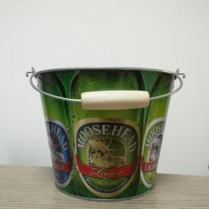 Custom Printed Round Bucket with Wooden Handle