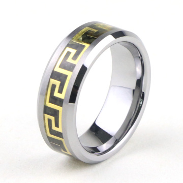 High Quality Tungsten Greek Key Wedding Rings