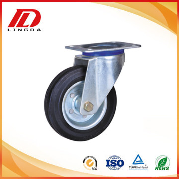 5'' rubber on iron wheel plate casters