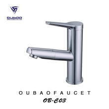 Countertop Polished Chrome Hot Cold Water Basin Faucet