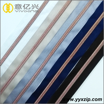 Rose gold nylon coil continuous zipper