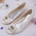 Wedopus Peep Toe Ivory Wedding Shoes Flats