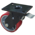 6'' Plate Top Swivel Industrial Caster PU Wheel With Brake