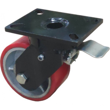 8'' Plate Top Swivel Industrial Caster PU Wheel With Brake