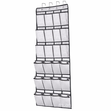 24 Large Pockets Hanging Over the Door Shoe Organizers with 4 Steel Over the Door Hooks