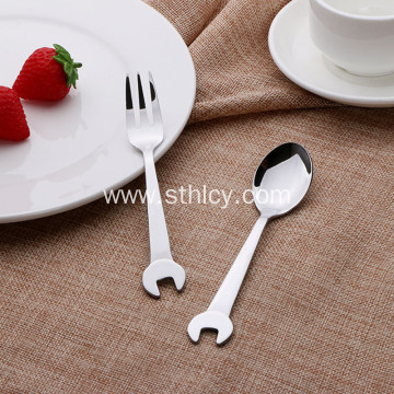 Silver Stainless Steel Flatware Set for Coffee