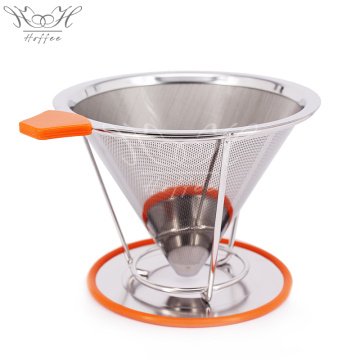 Customized Supplier for for China Coffee Dripper,Hand Coffee Drip Maker,Pour Over Coffee Filter Manufacturer Reusable Stainless Steel Filter Cone With Cup Stand supply to India Supplier