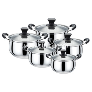Arc-shaped 5-Piece Stainless Steel Cookware Set
