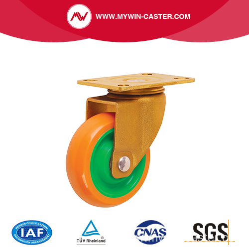 Swivel Plate Golden PU Wheel Industrial Caster