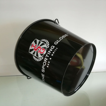 Black printing Ice bucket with handle