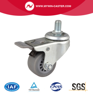 Stainless 1.5 Inch 35Kg Threaded Brake TPE Caster