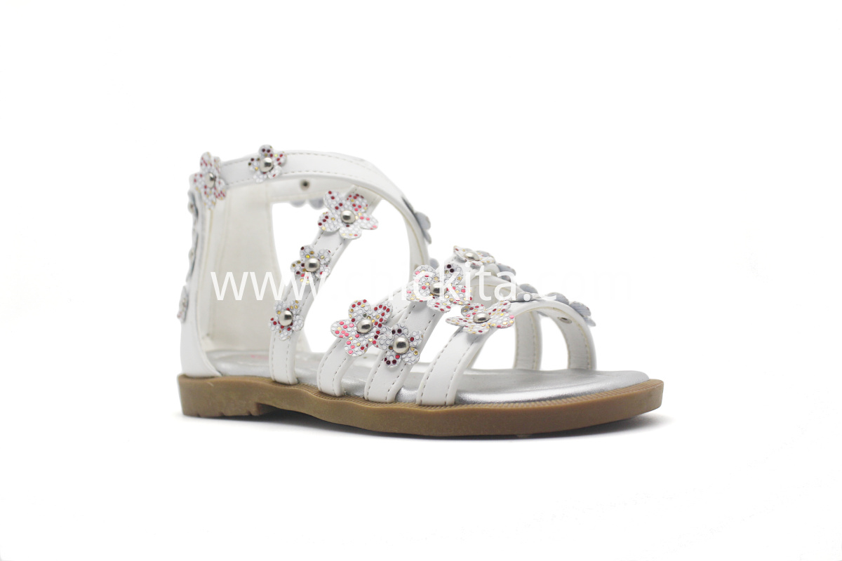 Children Flat Fashion Open toe sandals with Folwers