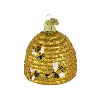 Bee Skep Shaped Customized Glass Christmas Ornaments