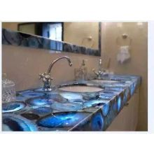 Top for Semi Precious Stone Table And Arts Semiprecious Blue Agate Countertop supply to Poland Factories