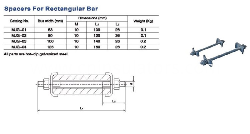 Spacers for rectangular bars