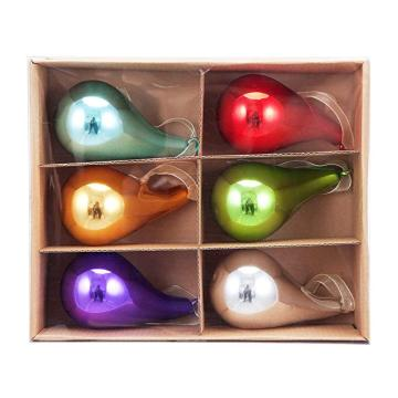 Teardrop Shaped Multicolor Christmas Glass Ball Ornament