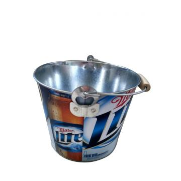 Round Bucket with wooden handle and bottle opener