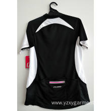 CC02-Black women's mesh cycling top with back pocket