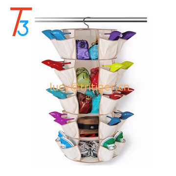 5 Tier 360 Degree Spinning Hanging Round Shoe Rack