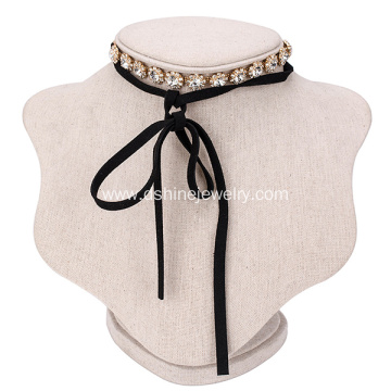 Korean Rhine flower Velvet Belt Choker Long Tie Necklace