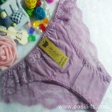 OEM wholesale cheap cameo brown sexy comfortable ladies lace cotton high level fancy underwear 873
