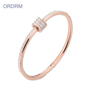 18k Rose Gold Small Bangle Bracelets With Stones