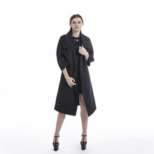 Simple black cashmere overcoat