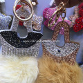 Handbag Fur Ball Key Chain Leather Velvet Crystal Key Ring