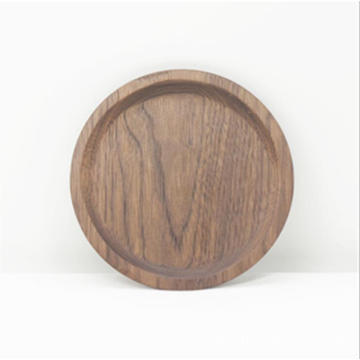 Round black walnut Wood Square Serving Tray