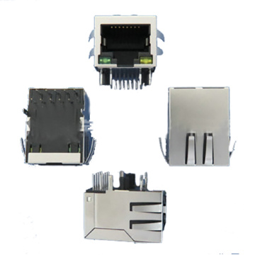 RJ45 with Transformer 1x1Port Side entry POE type