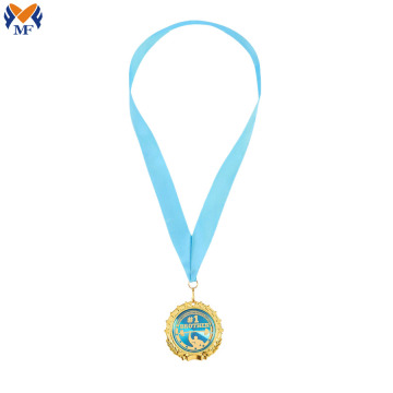 Custom gold weightlifting medals with ribbon