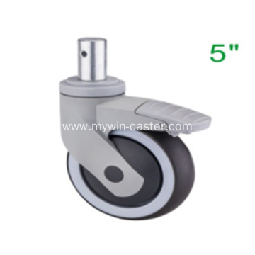 5 Inch Solid Stem Swivel TPR PP Material With Bracket Medical Caster