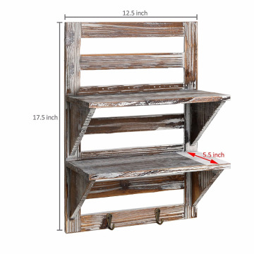 Rustic Wood Wall Mounted Organizer Shelves 2 tiers Storage hanging Rack Brown with 2 hooks