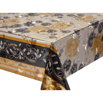 Double Face Emboss printed Gold Silver Tablecloth Party